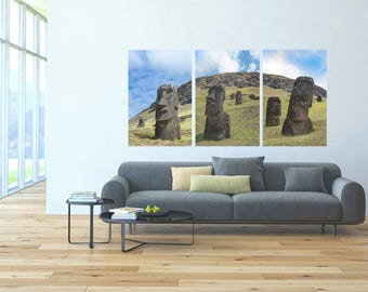 Moai Triptych  | Easter Island, Chile ~ Moai, statue, carving, bird man, Ahu Tongariki, Rapa Nui, Rano Raraku, Polynesia, stone,