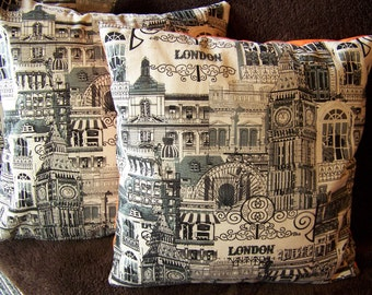 Cushion Pillow Cover Case With London Theme With Orange Backings for Living Room