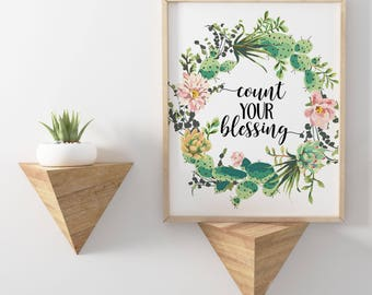 count your blessing, printable art cactus print