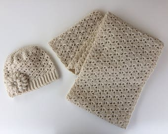 READY TO SHIP/Crochet Hat Scarf Set/Infinity Scarf/Knit Hat/Off White/Ivory/Flower Hat/Large Chunky/Adult/Ladies/Women's/Cowl Scarf/Toque