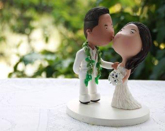 Groom kissing bride. Hawaiian wedding. Wedding figurine. Handmade. Fully customizable. Unique keepsake