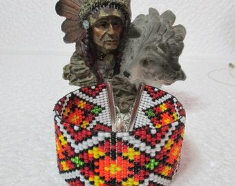"NATIVE AMERICAN Inspired 'Loom Bead' Bracelet. ""Mexican Pathway"""