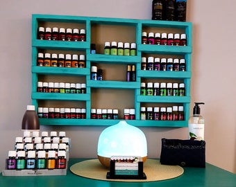 Essential Oil Shelf, oil rack, wood shelf, oil storage, hanging wall shelf, nail polish rack, spice rack, unique gift, home decor