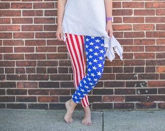 Red, white and blue stars and stripes leggings; one size leggings; soft leggings