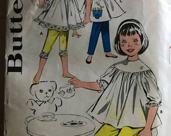 Butterick 9618 - 1950s or 60s Girls Yoked Smock and Pants - Size 6 Chest 24