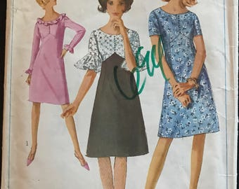 Simplicity 6292 - 1960s A Line Dress with Raised and Shaped Waist - Size 13 Bust 33