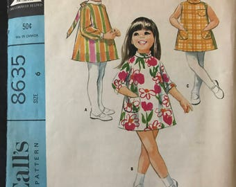 McCalls 8635 - 1960s Girl's Dress in Above Knee Length with Bias Roll Collar - Size 6 Chest 24