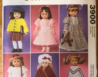 """McCalls 3900 -18"""" Doll's Fashion Clothing Collection with Sweater, Party Dress, Victorian Style Dress, Top, Jacket, and Cheerleader Uniform"""