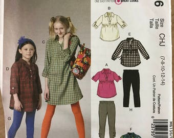 McCalls M6156 - Girl's Dress or Tunic with Raised Waist and Pointed Collar and Leggings - Size 7 8 10 12 14