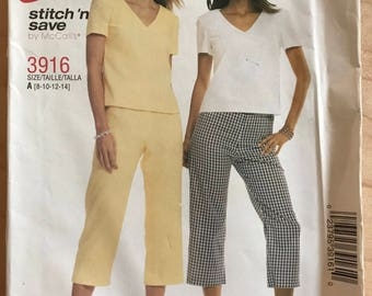 McCalls 3916 - Stitch 'n Save V Neck T-Shirt and Capris Pants - Size 8 10 12 14
