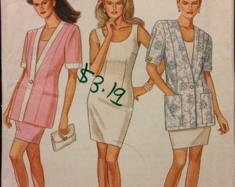 New Look 6694 - Scoop Neck Sheath Dress and Single Button Short Sleeve Jacket with Princess Seams - Size 8 1012 14 16 18