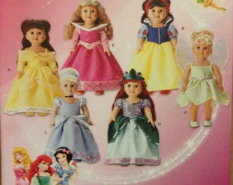 """Simplicity 1581 Disney Princess Costumes for 18"""" Doll Belle, Sleeping Beauty, Snow White Tinker Bell, Cinderella, Ariel"""