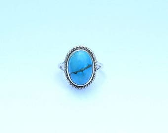 Turquoise ring, Silver ring, Turquoise Stone Ring, Turquoise Silver Ring , Tibetan Ring, Size US 3 4 5 6 7 8 9 10 11 12 13 14 15 16, 13