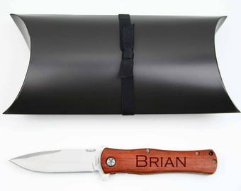 Groomsmen Gift, 6 Personalized Pocket Knife, Custom Engraved, Wedding Party Gifts with Gift Box