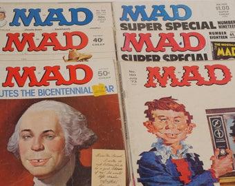 1970s lot of 6 Mad Magazines Alfred E. Neuman Vintage Magazines Lot EC Comics 70s Bicentennial Super Specials