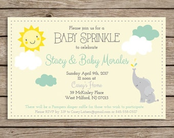 Printable Baby Sprinkle or Shower Invitation, Made to order, color options, Downloadable File, Neutral, Baby, girl, boy, elephant, sun