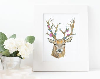 Deer Stag Flower Watercolour Art Print