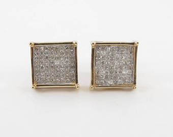 14K Yellow Gold Men's Diamond Stud Earrings - 14k Yellow gold Hip Hop Square Shape Diamond Earrings 1.00 carat