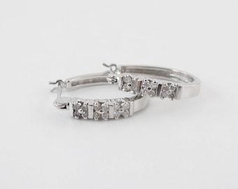 Diamond Hoop Earrings 14k White Gold 0.24 carat