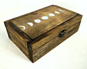 Rustic Moon Box, Lunar Cycle Case, Boho Jewelry Box, Crystal Collection Box, Personalized Wood Box, Box with 8 Sections, Divided Wooden Box