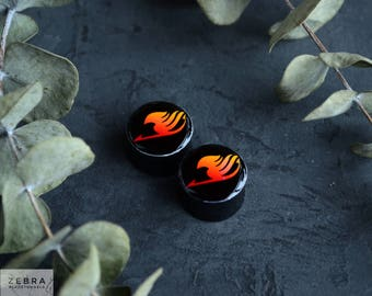 Pair plugs Fairy Tail image wooden ear tunnels,4,5,6,8,10,12,14,16,18,20,22-60mm;6g,4g,2g,0g,00g;1/4,5/16,3/8,1/2,9/16,5/8,3/4,7/8,1 1/4,1""