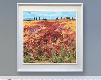 Landscape Painting Original on Canvas Tuscany Painting Red Poppies Painting Large Art Country Painting Italy Wall Art Ready to Hang Men Gift