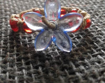Blue Flower Hemp Ring with Red Glass Beads
