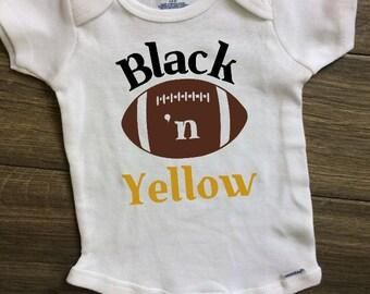 Football Baby Onesie, Steelers Baby, Black and Yellow Baby, Steelers Football, Sports Onesie, Team Colors, Football Baby, Football Onesie