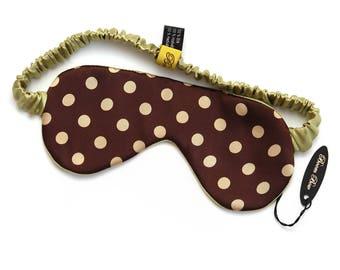 Pistachio Polka dots Silk Sleep Mask Gift for him Boom Bow