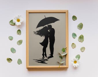 Romantic Wall Art / Couples Gift / Anniversary Papercut / Romantic Gift / Paper Anniversary / Paper Cut Art / Silhouette Art / Papercut Art