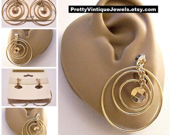 Monet Triple Hoop Clip On Earrings Gold Tone Vintage Large Faceted Beads Round Chain Links Comfort Paddles