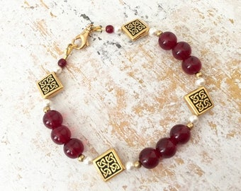 Celtic Garnet Czech Glass Gold Bohemian Bracelet