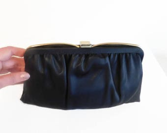 Vintage Ande' Black Satin Clutch Purse With Two Compartments & Hideaway Chain - Vintage Clutch Purses, Black Purse, Evening Out