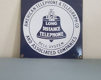 Vintage american telephone and telegraph porcelain sign
