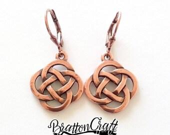 Copper Celtic Knot Earrings - Celtic Earrings - Irish Earrings - Scottish Earrings - Copper Celtic Jewelry