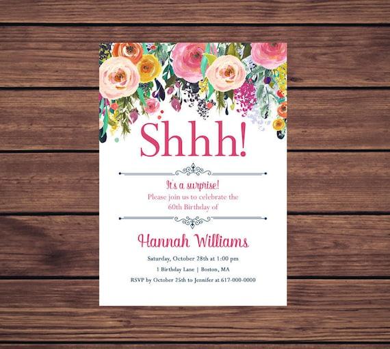 Surprise Birthday Invitation Pink Floral 60th Birthday Invitation