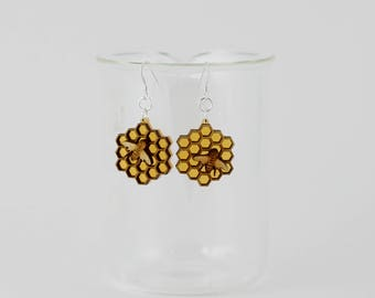 Honeycomb and Bee Earrings. Gifts for Her. Gifts Under 50. Honeycomb Earrings. Bee Earrings. Science Jewelry. Gifts for Bee-Lovers.