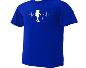 HIKING HEARTBEAT PULSE Walking Trails Hikers Outdoor Activity T-Shirt