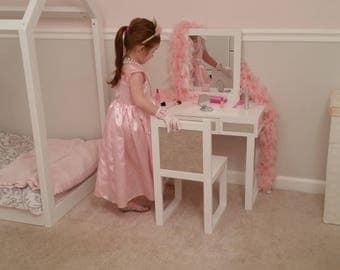 Kids Make Up Vanity Mirrored, White Kids Dress Up Vanity Desk With Mirror,  Little