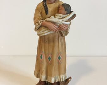 HomeCo Native American Vintage Squaw with Baby Bisque Figurine