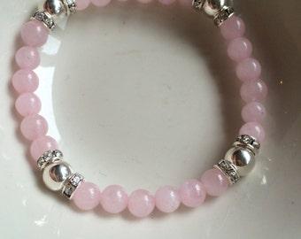 Rose Quartz STRETCH Bracelet Sterling Silver 6mm pink GEMSTONE bead Bracelet pink beaded Bracelet January Birthstone jewellery Chakra gift