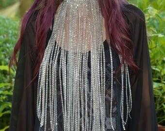 Moondust Choker Necklace - Long sparkly fringe rhinestone statement choker necklace - Unique festival,rave, party necklace
