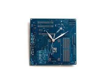 Dark Blue  Wall Clock, Blue Wall Decor, Blue Wall Accent, Modern Clock, Circuit Board Clock, Geek Wall Clock, Boyfriend Gift, Husband Gift