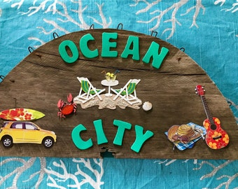 Distressed Ocean City sign, MD or NJ, coastal decor, kitchen sign, tiki bar sign, cabana sign, nautical sign, repurposed, upcycled wood