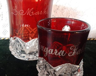Vintage souvenir EAPG red flash glass cups