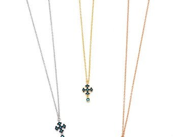 petite and dainty cross necklace with dangling zircon, various colors, 925 sterling silver