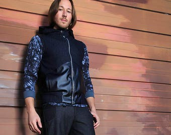 The Catalyst Sleeveless Denim Jacket Hooded Denim and Faux Leather Men's Sz. MED Dark Blue and Black Pockets