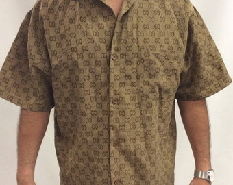 Vintage Gucci Print Monogrammed Collared Button Up