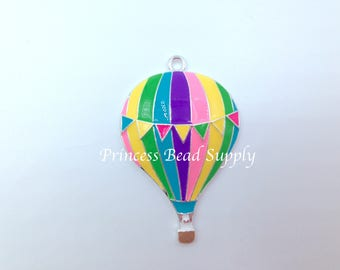 Hot Air Balloon Pendant for Chunky Necklaces,  46mm Hot Air Balloon Enamel Pendant, Chunky Necklace Pendant