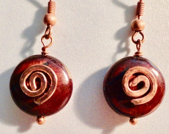 Red Tigers Eye Earrings. Tiger Eye Earring, Copper Accent. Copper & Tiger Eye